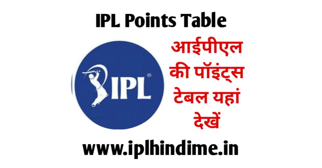 आईपीएल पॉइंट्स टेबल | IPL Points Table