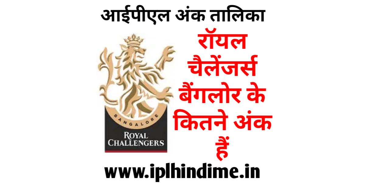 रॉयल चैलेंजर्स बैंगलौर के कितने अंक है